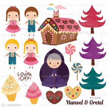 Hansel and Gretel Clip Art Set D13003