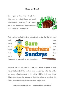 Hansel & Gretel Comprehension / Guided reading (4 levels difficulty) - 2 Lessons