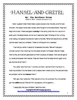 Hansel and Gretel Short Story Unit