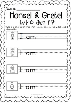 Hansel and Gretel - Who am I Activities & Word Wall Cards