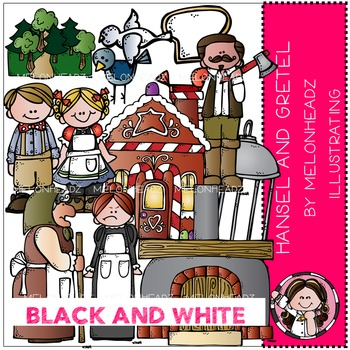 Melonheadz: Hansel and Gretel clip art - BLACK AND WHITE