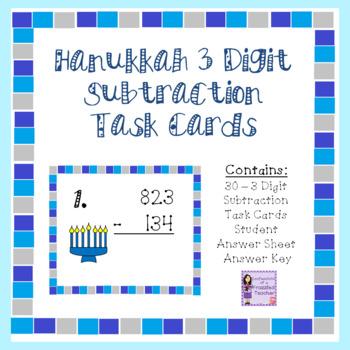 Hanukkah 3 Digit Subtraction Task Cards