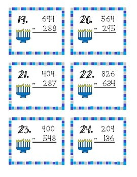 Hanukkah 3 Digit Subtraction Task Cards