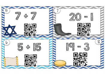 Hanukkah Addition and Subtraction QR Task Cards 1-25