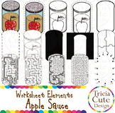 Hanukkah Apple Sauce Worksheet Elements Clip Art for Tracing Cutting Puzzle Maze