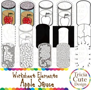 Hanukkah Apple Sauce Worksheet Elements Clip Art for Tracing Cutting Puzzle Maze