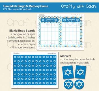 Hanukkah Bingo & Memory Game, Printable Hanukkah Game