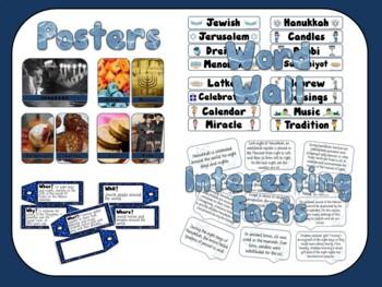 Hanukkah Bundle Bulletin Board Posters, Word Wall, Student Booklet