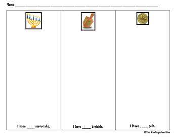 Hanukkah/Chanukah Count & Classify Worksheet (menorahs, dreidels, gelt)