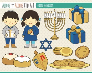 Hanukkah Clip Art - color and outlines