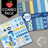 Hanukkah Clipart and Digital Papers Combo Bundle, AMB-1701