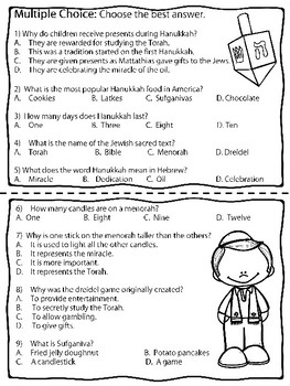 Hanukkah Coloring Book and Reading Comprehension (History, Symbols)