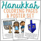 Hanukkah Coloring Pages and Poster Set, Jewish Holiday, Ea