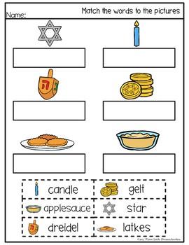 Hanukkah Cut and Paste Math & Literacy Center Activities - No Prep