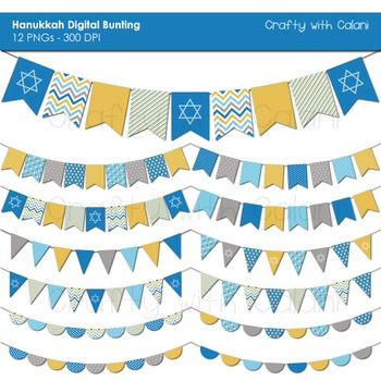Hanukkah Digital Bunting, Chanukah Digital Bunting, Jewish Holiday Bunting
