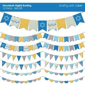 Hanukkah Digital Bunting, Chanukah Digital Bunting, Jewish