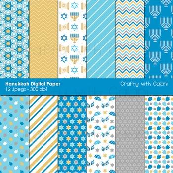 Hanukkah Digital paper, Chanukah Digital paper, Jewish Holiday Digital Paper