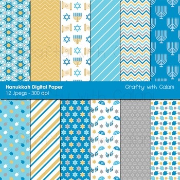 Hanukkah Digital paper, Chanukah Digital paper, Jewish Holiday Digital Paper
