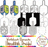 Hanukkah Clip Art Dreidel Worksheet Elements for Tracing Cutting Puzzle Maze