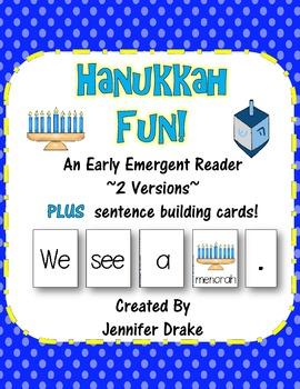 Hanukkah Fun! Early Emergent Reader PLUS Word & Pic Cards; 2 Versions!