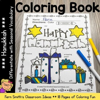 Coloring Pages for Hanukkah with Differentiated Seasonal V