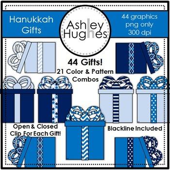 Hanukkah Gifts Clipart {A Hughes Design}