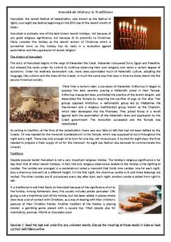 Hanukkah History & Traditions - Reading Comprehension Text / Worksheet