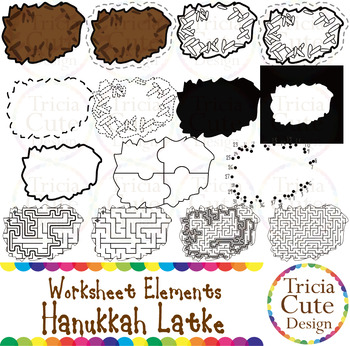 Hanukkah Latke Jewish Food Worksheet Elements Clip Art for Tracing Cutting