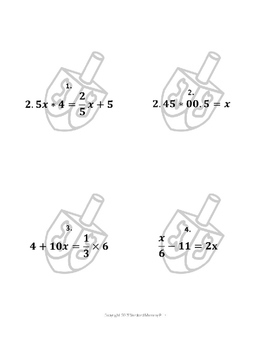 Hanukkah Math Algebra Puzzle for the middle and high school classroom