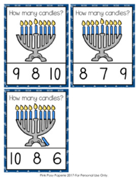Hanukkah Menorah Candles Count and Clip Cards