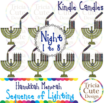 Hanukkah Menorah Candles Sequence of Lighting Clip Art