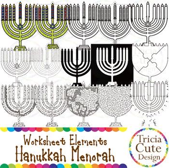 Hanukkah Menorah Worksheet Elements Clip Art for Tracing Cutting Puzzle Maze