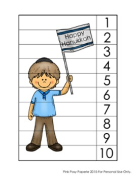 Hanukkah Number Counting Strip Puzzles - 5 Designs
