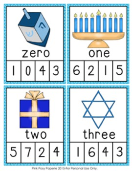 Hanukkah Number Words Clip Cards
