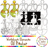 Hanukkah Clip Art Oil Pitcher Worksheet Elements for Tracing Cutting Puzzle Maze