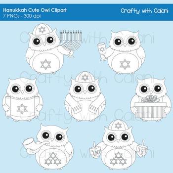 Hanukkah Owl Digital Stamp, Hanukkah Owl Clipart, Hanukkah