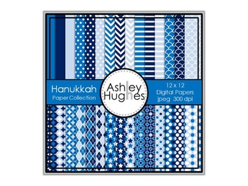 12x12 Digital Paper Set: Hanukkah Collection {A Hughes Design}