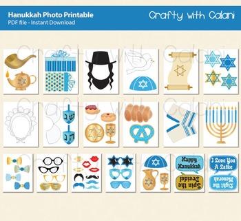 Hanukkah Photo Booth Prop, Jewish Holiday Photo Booth Prop - 52 unique props