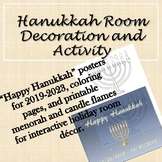 Hanukkah Posters and Room (Door, Bulletin Board) Decor with Coloring Sheets