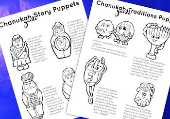 Hanukkah Puppets Black White Coloring Pages Puppets For Chanukah