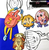 Hanukkah Puppets BLACK/WHITE Coloring Pages Puppets for Chanukah