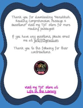 Hanukkah Reading Comprehension Passage & Questions!