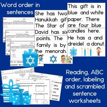 Hanukkah Sentence Picture Match Reading Center