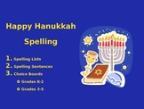 Spelling Lists and Choice Boards for Hanukkah!