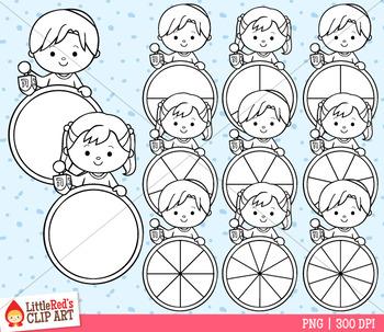 Hanukkah Spinners Clip Art