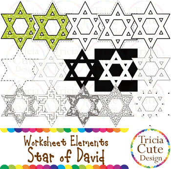 Hanukkah Star of David Worksheet Elements Clip Art for Tracing Cutting Maze