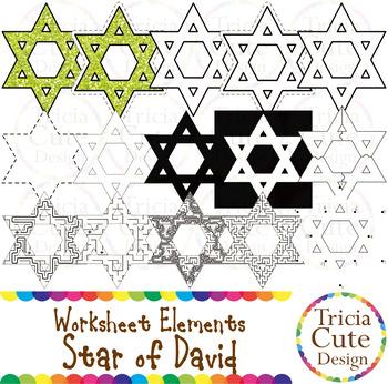 Hanukkah Star of David Worksheet Elements Clip Art for Tra