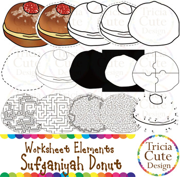 Hanukkah Sufganiyah Donut Worksheet Elements Clip Art for Tracing Cutting Maze