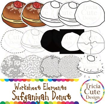 Hanukkah Sufganiyah Donut Worksheet Elements Clip Art for