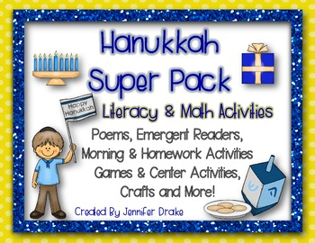 Hanukkah Super Pack!  Literacy & Math Activities, Centers & More!  CC Aligned!